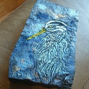 🇨🇦 Hand Painted Blue Heron Garden Rock